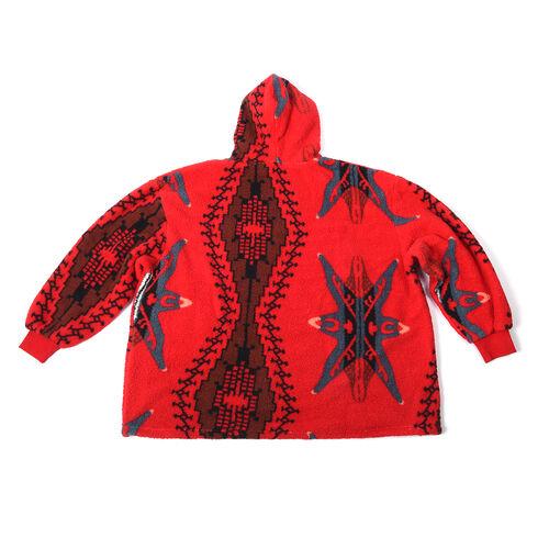 Tribal Pattern Hooded Fleecy Sweatshirt (Size 194x98cm) - Black and Red
