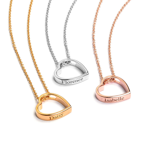 Personalise Engraved Heart Pendant with Chain in Silver