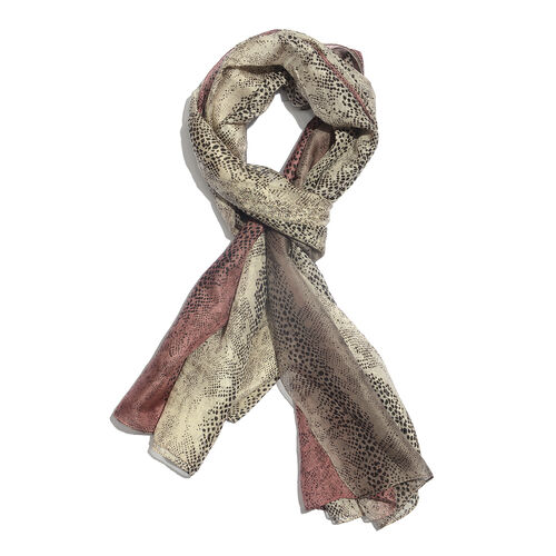 100% Mulberry Silk Light Brown, Cream and Multi Colour Handscreen Printed Scarf (Size 170x100 Cm)