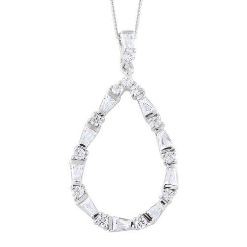 J Francis - Platinum Overlay Sterling Silver (Rnd and Bgt) Pendant With Chain Made with SWAROVSKI ZIRCONIA