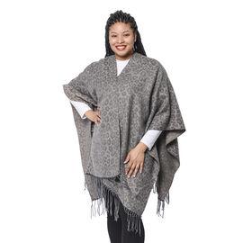 Leopard Pattern Kimono with Tassel Hem in Grey (110x80+10cm)