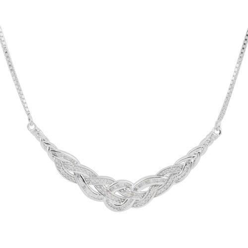 Diamond (Bgt and Rnd) Adjustable Necklace (Size 16 to 18) in Platinum Overlay Sterling Silver 1.000