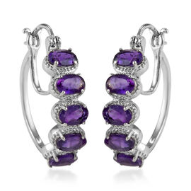 Amethyst Hoop Earrings (with Clasp) in Stainless Steel 4.00 Ct.