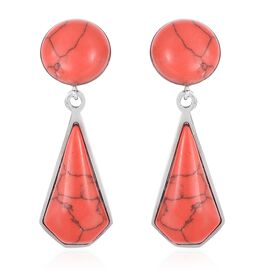 Red Howlite (Rnd) Clip - On Dangle Earrings in Stainless Steel 13.000 Ct.
