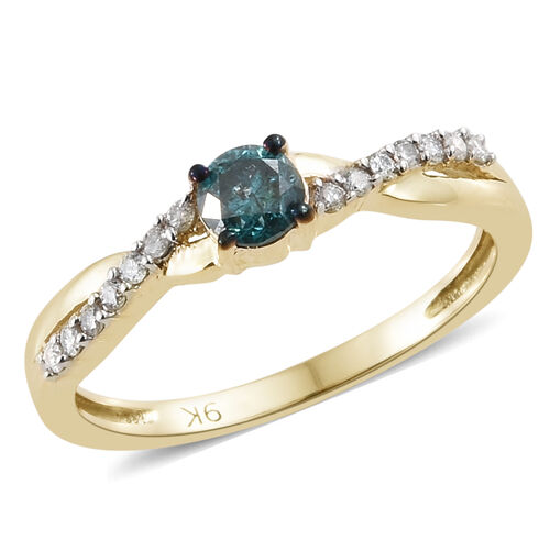 9K Yellow Gold Blue Diamond (Rnd), White Diamond Ring