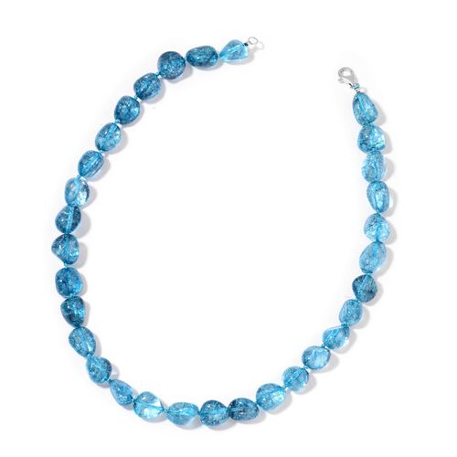 AAA Blue Austrian Crystal Necklace (Size 18) and Bracelet (Size 7.5) in Silver Tone
