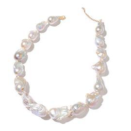 ILIANA Rare 4A Organic Baroque Fresh Water Pearl Necklace in 18K Gold 18 Inch