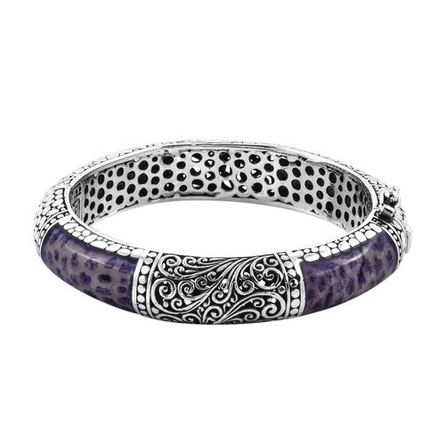 Royal Bali Purple Coral Filigree Design Bangle in Sterling Silver 57 Grams 7.5 Inch