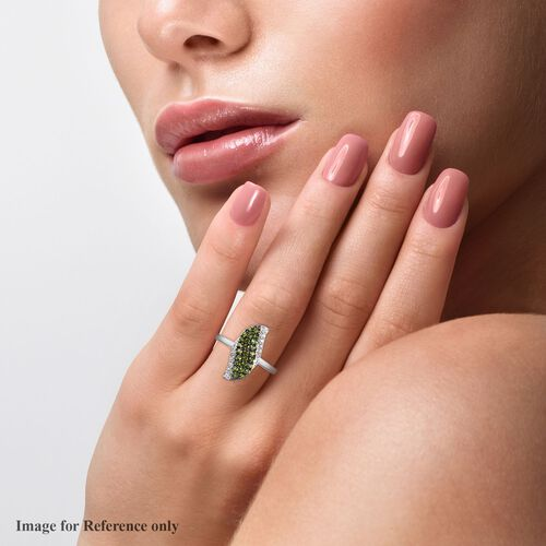 Russian Diopside and Natural Cambodian Zircon Ring in Platinum Overlay Sterling Silver 1.00 Ct.