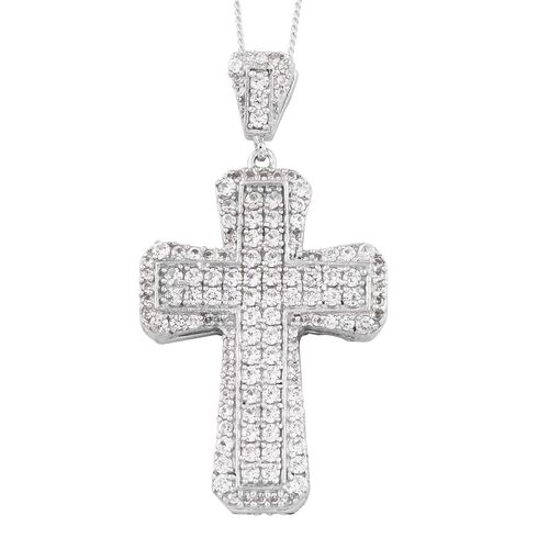 Designer Inspired-Rhodolite Garnet (Rnd), Natural Cambodian Zircon Cross Pendant with Chain in Black Rhodium and Platinum Overlay Sterling Silver 3.500 Ct. Gemstone Studded 268 Pcs. Silver wt. 6.64 Gm