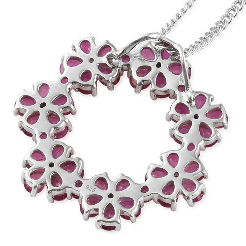 African Ruby (Pear), Natural White Cambodian Zircon Floral Pendant with Chain in Platinum Overlay Sterling Silver 8.250 Ct, Silver wt 6.360 Gms