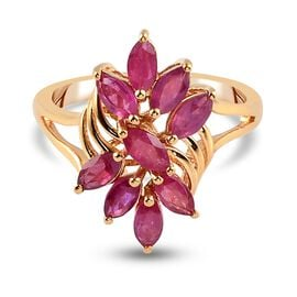 African Ruby Floral Ring in 14K Gold Overlay Sterling Silver 1.50 Ct.