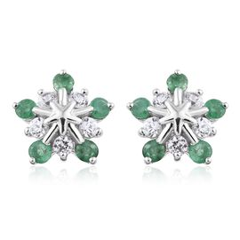 1.50 Carat AA Kagem Zambian Emerald and Natural Cambodian Zircon Snowflake Earrings in 9K White Gold