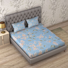 4 Piece Set : Floral Printed Microfibre Sheet Set including Flat Sheet (230x265cm), Fitted Sheet (14
