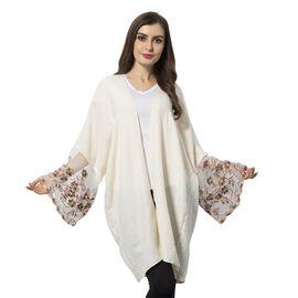 White and Multi Colour Flower Pattern Lace Sleeve Kimono (Size 90x70 Cm)