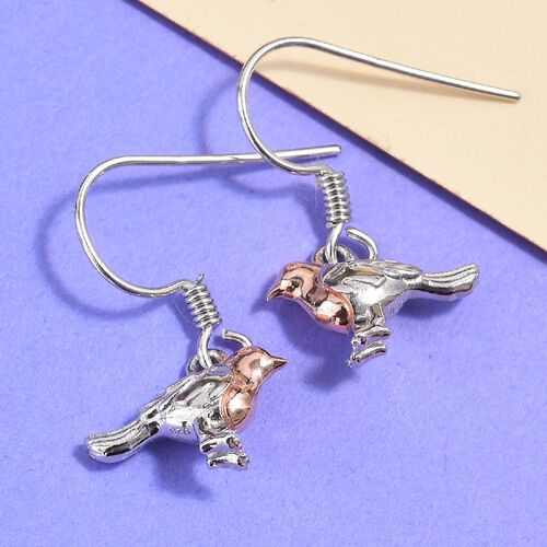 Robin Bird Earrings in Rose Gold and Platinum Overlay Sterling Silver