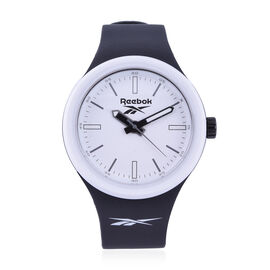 Reebok Water Resistant Sports Watch with Silicone Strap in Black and White
