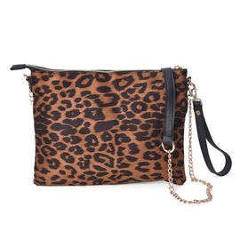 Leopard Pattern Crossbody Bag with Detachable Shoulder Strap (Size 26x20 Cm) - Brown