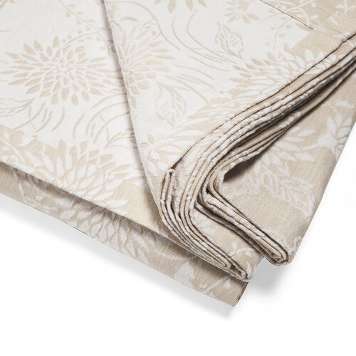 Egyptian Cotton King Size Pique Bedcover with Floral Motif, Made in Portugal (Size 240X260 cm) - Beige