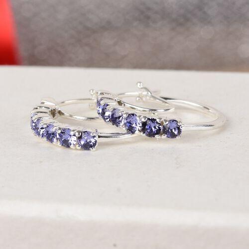 J Francis Crystal From Swarovski Tanzanite Crystal Hoop Earrings (with Clasp) in Sterling Silver