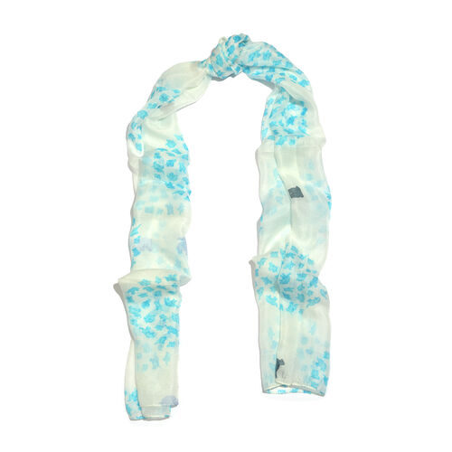 100% Mulberry Silk Turquoise, White and Multi Colour Elephants Hand Screen Printed Scarf (Size 180X50 Cm)