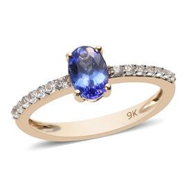 9K Yellow Gold AA Tanzanite (Ovl 7x5mm), Natural Cambodian Zircon Ring 0.90 Ct.