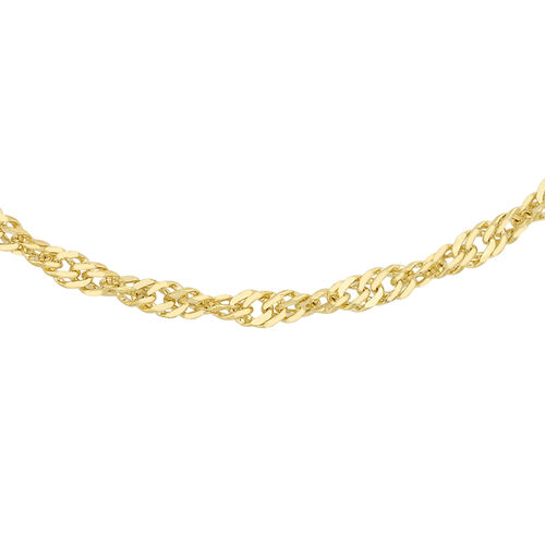 Hatton Garden Close Out - 9K Yellow Gold Twist Curb Necklace (Size 18)