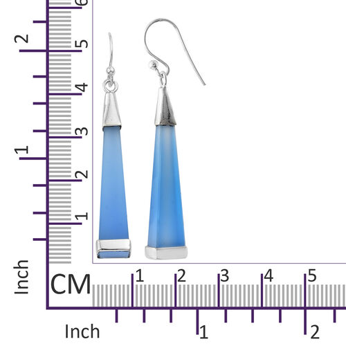 Designer Inspired- Namibian Blue Chalcedony Hook Earrings in Sterling Silver 19.000 Ct.