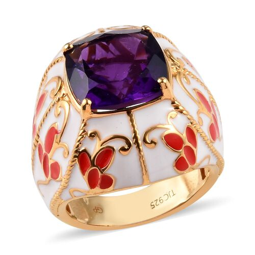 GP 5.28 Ct Amethyst and Blue Sapphire Enamelled Solitaire Ring in 14K Gold Plated Sterling Silver