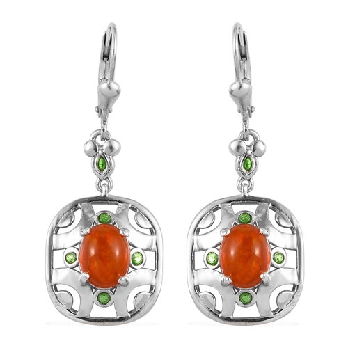 Orange Ethiopian Opal Lever Back Earrings in Platinum Overlay Sterling Silver 2.25 Ct.