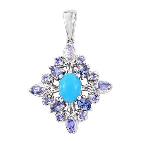 Arizona Sleeping Beauty Turquoise (Ovl), Tanzanite Pendant in Platinum Overlay Sterling Silver 2.250 Ct.