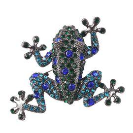 Multicolour Austrian Crystal Frog Brooch