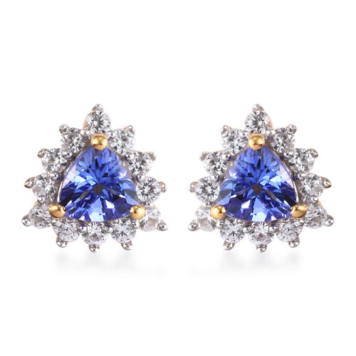 AA Tanzanite and Natural Cambodian Zircon Stud Earrings (with Push Back) in 14K Gold Overlay Sterlin