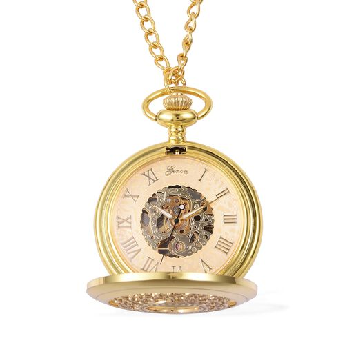GENOA Automatic Skeleton Water Resistant Pocket Watch with Chain (Size 32) in GoldTone