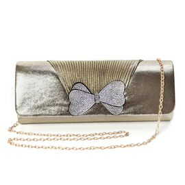 Crystal Bowknot Design Clutch with Chain Strap and Magnetic Flap Closure (Size 26x11x6 Cm) - Light G