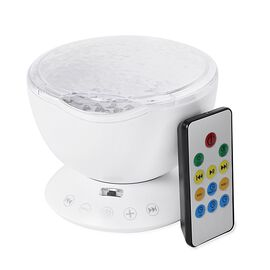 White Colour Projection Lamp With Multi Colour Lighting Rays and Remote Control with 3 Automatically Turn Off Timer Options and USB Rechargable