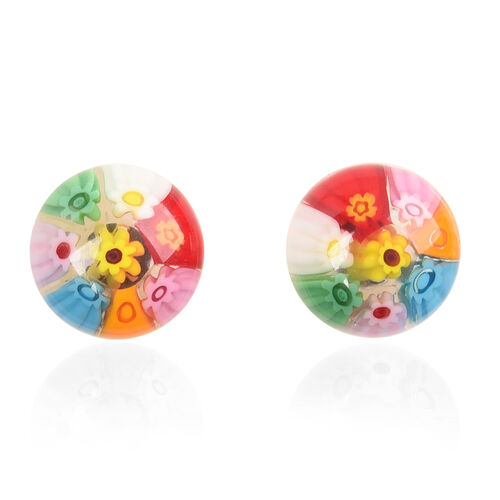 2 Piece Set - Multi Colour Murano Style Glass Earrings (with Push Back) and Necklace (Size 24) with Magnetic Lock