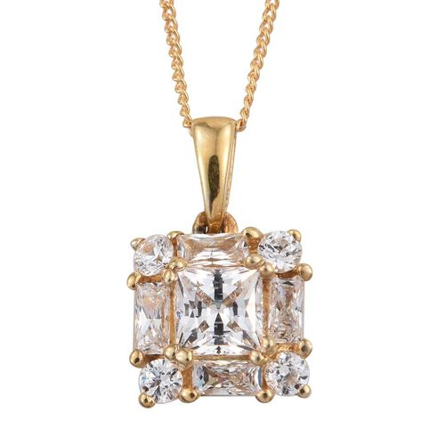 J Francis - 14K Gold Overlay Sterling Silver (Sqr) Pendant With Chain Made with SWAROVSKI ZIRCONIA