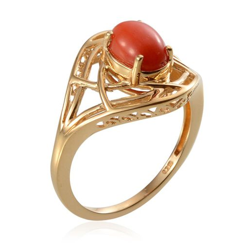 Mediterranean Coral (1.00 Ct) 14K Gold Overlay Sterling Silver Ring  1.000  Ct.