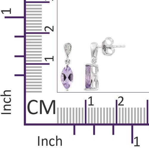 9K White Gold AA Rose De France Amethyst (Mrq), Diamond Earrings (with Push Back) 1.350 Ct.