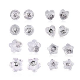 Set of 8 Pairs Rhodium Overlay Sterling Silver Earring Backs - Heart, Flower, Star and Round Shape Backs