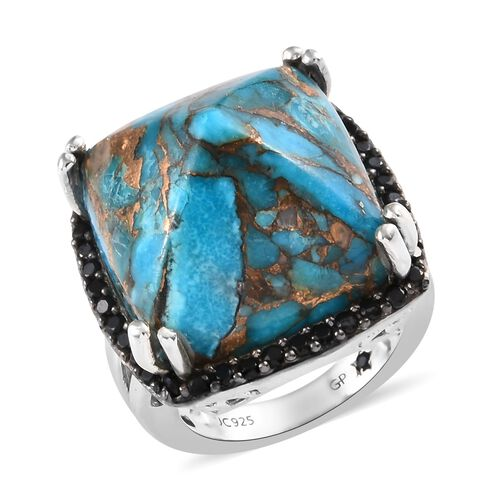 GP 33.25 Ct Mojave Blue Turquoise and Multi Gemstone Cocktail Halo Ring in Platinum Plated Silver
