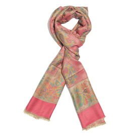 Pink, Orange and Multi Colour Floral and Paisley Pattern Scarf with Fringes (Size 190X70 Cm)