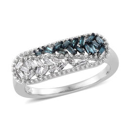 Blue and White Diamond (Bgt) Ring in Platinum Overlay with Blue Plating Sterling Silver 0.200  Ct.