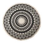 100% Cotton Mandala Round Cotton Rug with Laces or Fringes (Size 115x120  Cm) - Beige & Black