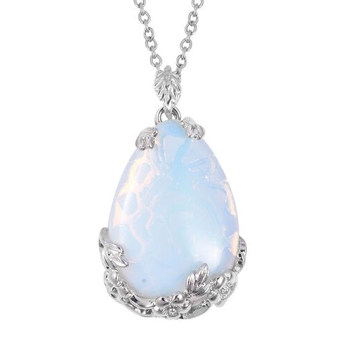 Opalite (Pear 35x25 mm) Pendant With Chain (Size 24) in Stainless Steel 50.0 Ct.