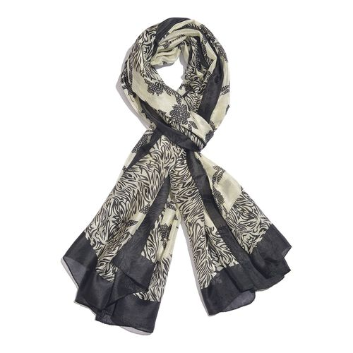 100% Mulberry Silk Black and White Colour Handscreen Floral and Zebra Printed Pareo (Size 180X100 Cm