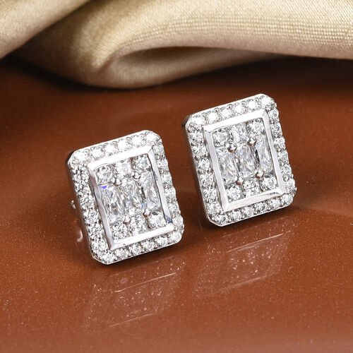 J Francis Platinum Overlay Sterling Silver Cluster Stud Earrings (with Push Back) Made with SWAROVSKI ZIRCONIA 3.25 Ct.