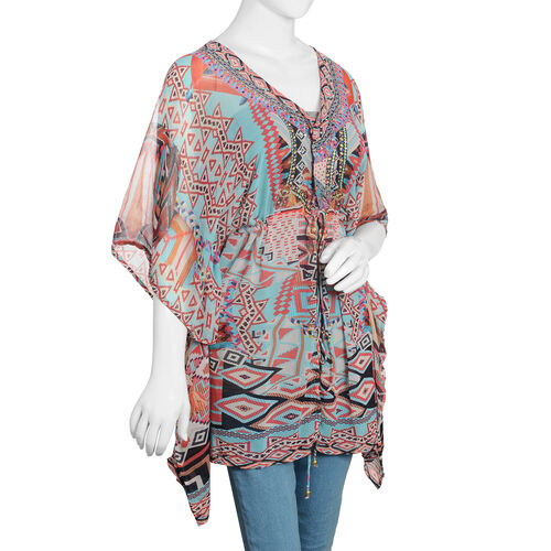 Turquoise, Red, Black and Multi Colour Crystal Embellished Digital Printed Kaftan (Size 80x65 Cm)