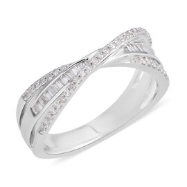 Diamond (Bgt and Rnd) Ring in Rhodium Plated Sterling Silver 0.360 Ct.